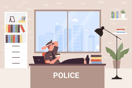 Police office department vector illustration. Cartoon officer detective worker policeman character sitting at desk and resting, coffee break during work in police station room interior background Vecteurs