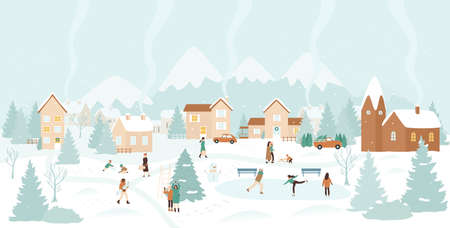 Winter village, snow Christmas landscape vector illustration. Cartoon active people have fun next to Christmas tree, ice skating and playing with snowballs, happy winter outdoor activity background Vetores