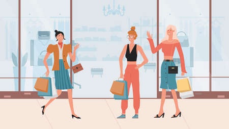 Fashion girls walking after shopping vector illustration. Cartoon young stylish fashionable woman characters walk, holding handbag and bags with purchases, wearing clothing in casual style background Ilustração