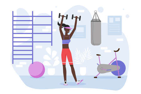 Fitness workout in gym vector illustration. Cartoon trainer sportswoman character in sportswear doing sport exercise in gym room interior, training healthy sporty body with dumbbells isolated on white Illusztráció