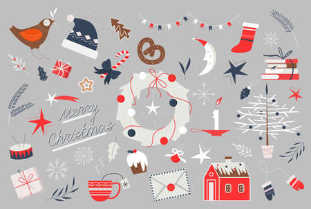 Merry Christmas holiday folk art vector illustration. Cartoon traditional xmas elements collection with cute decoration for happy winter holidays celebration, Christmas design for greeting card Illusztráció