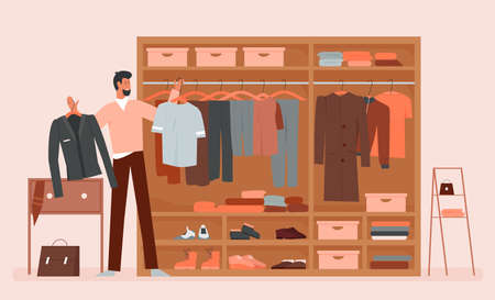 Man choosing clothes in clothing home wardrobe room vector illustration. Cartoon bearded male character trying to choose what to wear, standing near closet cabinet or dresser full of clothes, shoes
