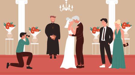 Senior people wedding ceremony vector illustration. Cartoon elderly happy bridal couple get married, aged bride groom standing in old church chapel interior, wedding ceremonial celebration background