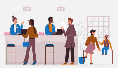 Bank office working with clients, banking service vector illustration. Cartoon customer characters visit professional bank consultant or finance manager for consulting in financial problems background Vector Illustration