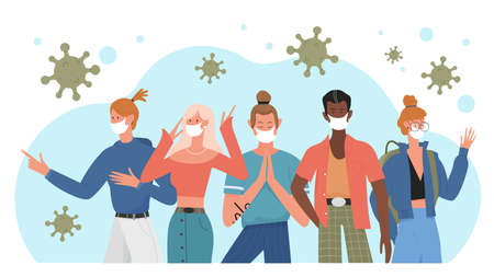 People in medical masks vector illustration. Cartoon young man woman characters standing together, wearing face masks to prevent coronavirus infection, healthcare prevention measures background