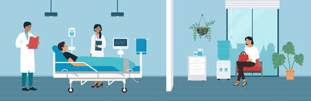 Hospital medicine ward vector illustration. Cartoon hospitalized character lying in bed with dropper intensive therapy, medical equipment in modern ward, family waiting for visit patient background