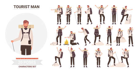 Man tourist traveler adventure poses vector illustration set. Cartoon bearded young male hiker character with backpack posing in tourism activity, traveling, hiking and climbing isolated on white