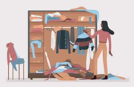 Messy closet, dressing home room interior vector illustration. Black african american woman worried about mess in open wardrobe, standing next to pile of thrown clothes, untidy clutter.