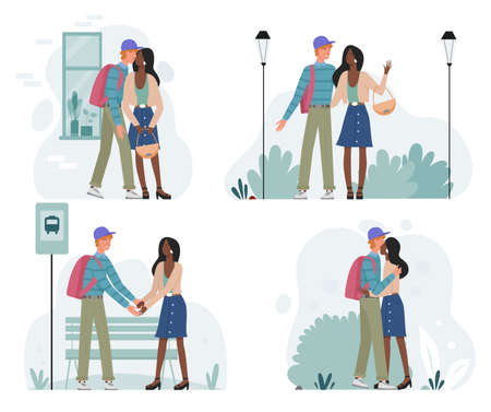 Happy romantic couple walking together on date vector illustration set. Cartoon young man woman characters dating, lovers meet kiss greet or say goodbye. Romance relationship love isolated on white Ilustracja