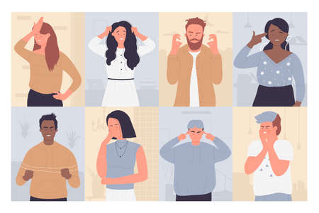 Upset annoyed people vector illustration set. Cartoon sad unhappy disappointed adult characters in bad failure situation, with face palm gesture, touch head in headache, disappointment or shame Illustration
