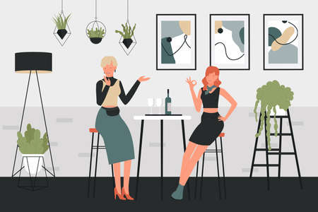 Girls drinking wine vector illustration. Cartoon woman characters sitting on high chairs next to table with glasses of wine drink and bottle in comfortable interior of home or cafe bar background Ilustrace
