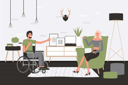 Friends people communication vector illustration. Cartoon disabled man character sitting in wheelchair at home living room interior, talking and communicating with woman, happy friendship background
