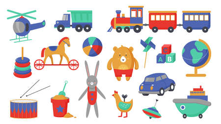 Kids toys vector illustration set. Cartoon children activity, education game collection with cute plastic toy transport to play with small boys and girls, funny playing objects isolated on white Ilustracja