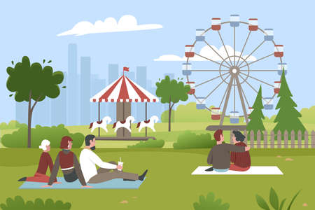 People in amusement park vector illustration. Cartoon young man woman characters sitting on green grass in summer park with carnival fair, ferris wheel, roundabout, lunapark entertainment background