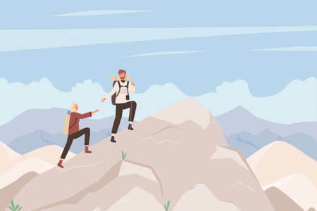 Tourist people climb mountain vector illustration. Cartoon man woman climbers with backpack climbing cliff, hikers characters explore rock mountains, nature sport outdoor expedition scene background