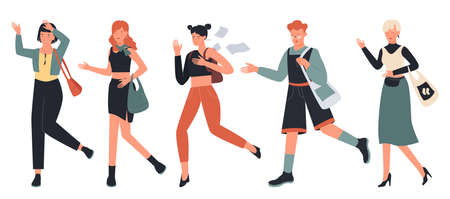 People hurry and run vector illustration set. Cartoon busy boy and girl characters hurrying, running fast, late worried adult woman in casual clothes rushing in hurry to get on time isolated on white