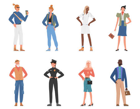 People standing vector illustration set. Cartoon happy elderly and young man woman character standing, hipster student villager doctor policeman businessman and businesswoman smiling isolated on white
