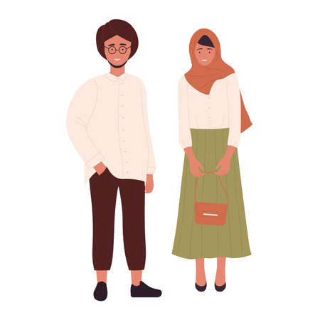 Muslim young modern couple people vector illustration. Cartoon arab flat young man and woman standing together, arabian boyfriend and girlfriend wearing modern clothes isolated on white Vecteurs