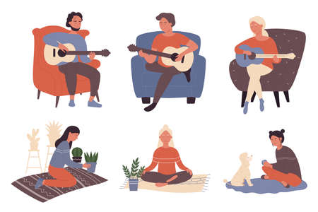 People enjoy time at home vector illustration set. Cartoon musician young characters playing guitar, man and woman playing with pet dog, enjoying meditation in yoga lotus position isolated on white