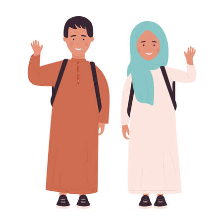 Muslim girl and boy teenagers with school bag standing together and waving, greeting Vecteurs