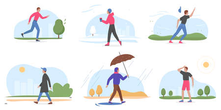 People and four seasons set, cartoon young man walking in winter summer spring autumn