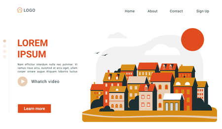 Urban simple landscape landing page, cityscape sunset scene with orange buildings houses