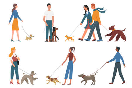 People walk pet dogs of different breeds set, young man woman owners and puppy pets