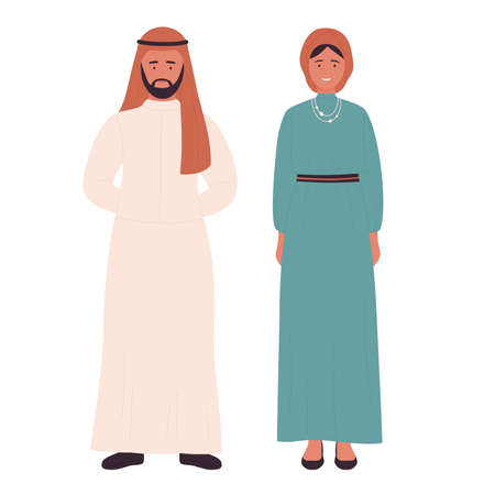 Muslim family or couple people, arabian young husband and wife standing together