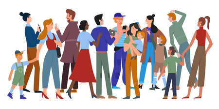 People walk in crowd vector illustration. Cartoon different ages and multiethnic diverse crowd group of man and woman characters in casual clothes walking, holding smartphone isolated on white Векторная Иллюстрация