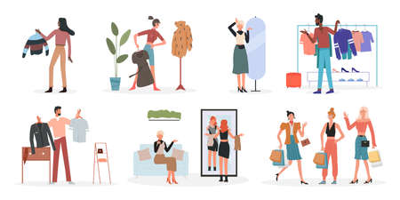 People choose fashionable clothes at home, fashion shop vector illustration set. Cartoon man woman characters holding clothes hanger, choosing what to wear, girls with shopping bags isolated on white