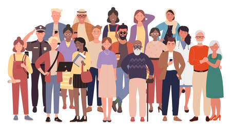 Diverse crowd, multiracial multicultural people group, civil society vector illustration. Cartoon multiethnic old young men and women, children standing together, social diversity isolated on white