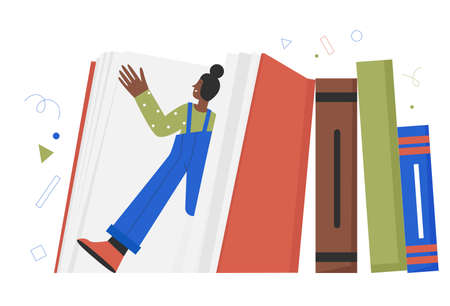 Book education world, people readers at library, literature lover or fan concept vector illustration. Cartoon tiny young woman student character standing among different giant books and textbook Vektorové ilustrace