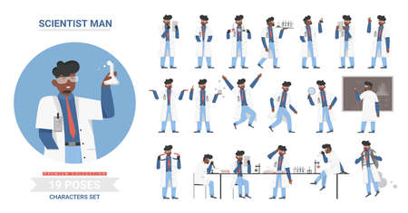 African american black scientist man poses vector illustration set. Cartoon male character working in scientific research laboratory, holding lab flask tube, model of atom, science work posture Vektorové ilustrace