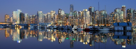 Vancouver downtown panoramic night, Canada BC  photo