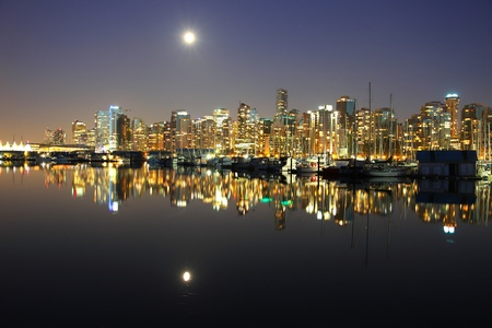 hotels building: Vancouver downtown, lunar night, Canada BC