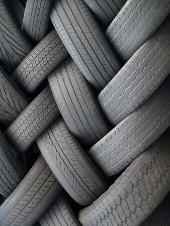 traction: Old tires stacked  Stock Photo