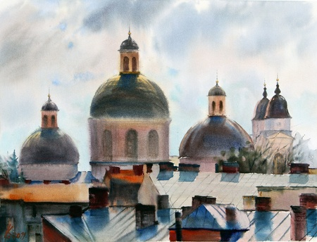 Panorama of Chernivtsi city.Picture painted with watercolors.
