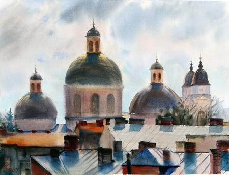 chernivtsi: Panorama of Chernivtsi city.Picture painted with watercolors.