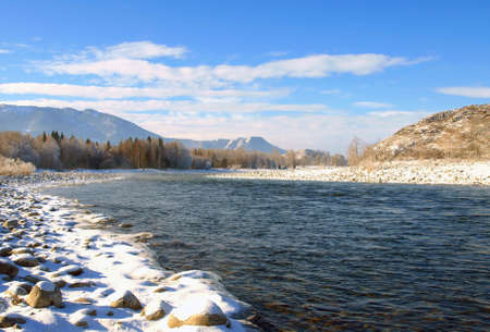 Winter landscape with Katun river at Altai mountains photo