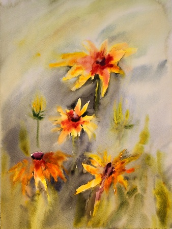 wet paint: Watercolor painting of the beautiful flowers.