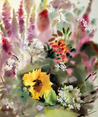 아름다운 꽃의 수채화 그림.