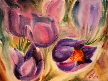 Peinture à l'aquarelle des belles fleurs. Banque d'images - 11474510