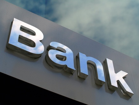 account: Bank office sign Stock Photo