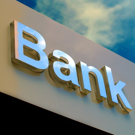 Bank office sign Stock Photo