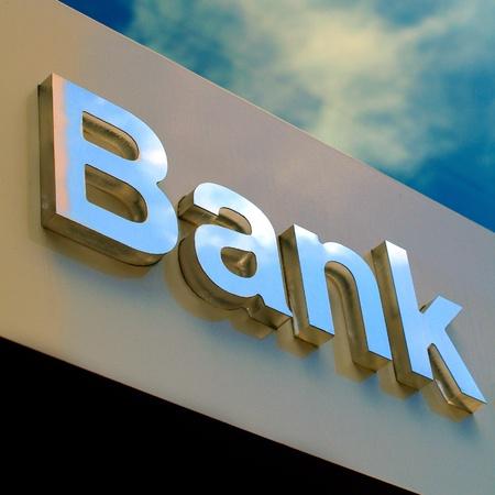 Signe bureau de la Banque Banque d'images