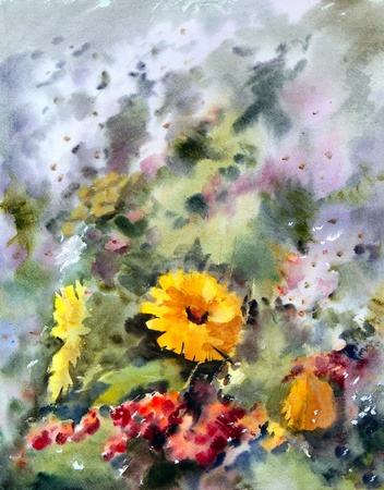 impressive: Watercolor painting of the beautiful flowers.