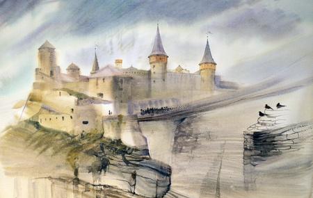 図の古い城のカミャネチ = ポジリシキィ ウクライナ。手描きの水彩画 写真素材