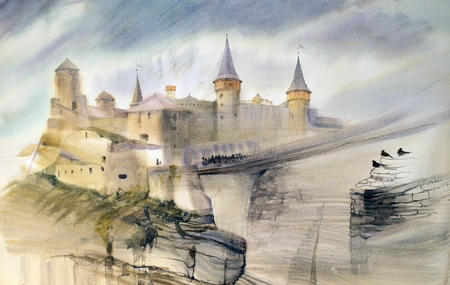 kingdoms: Illustration of the old castle of Kamianets-Podilskyi in Ukraine. Hand painted by watercolor