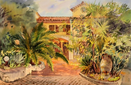 Watercolor painting of the building in St. Tropez.  photo