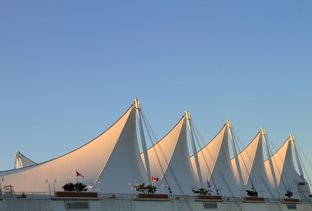 the place is outdoor: The Roof of Canada Place with White Sails in Vancouver